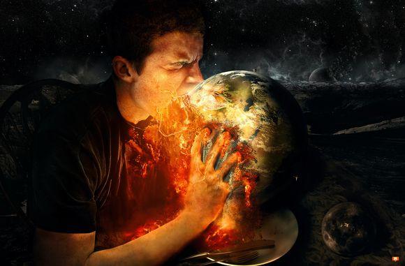 man eating earth literally
