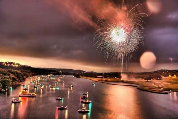 Amazing Fireworks over the lake