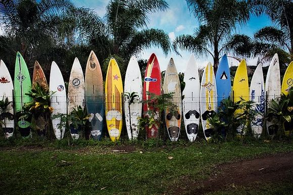 surfing board fence