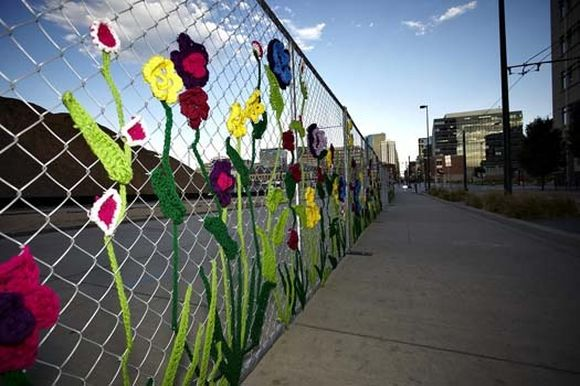 unusual piece of art unnatural flower fence