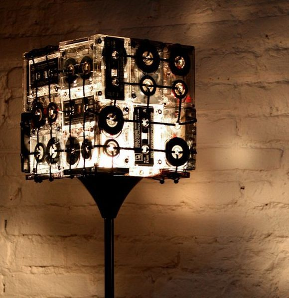 cassete tapes floor lamp