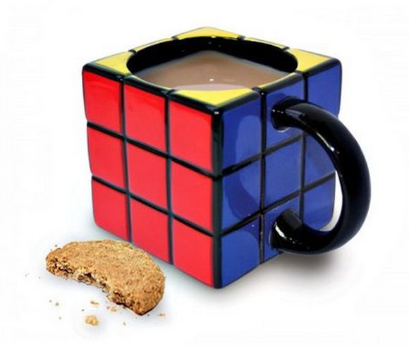 Rubic cub mug with milk and cookie