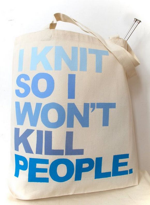 i knit so i won't kill people grocery bag