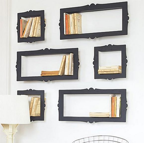 home bookshelfes baroque style that look like picture frames
