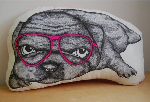 dog with glasses drawn on a pillow
