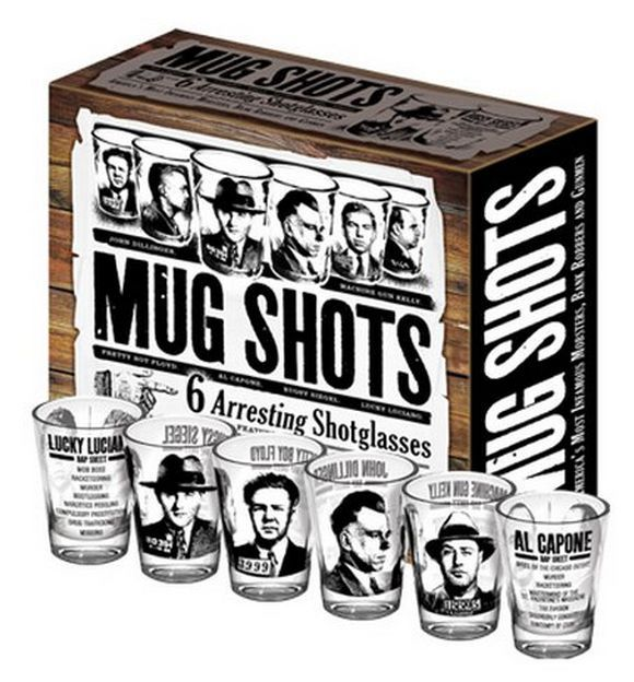 mug shots 6 arresting shotglasses box