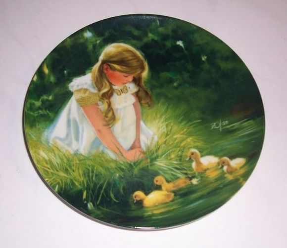 Girl watching ducks swim plate art