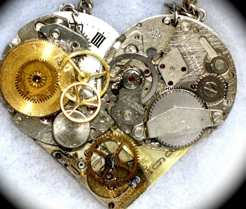 Steampunk Heart with bolts and gear