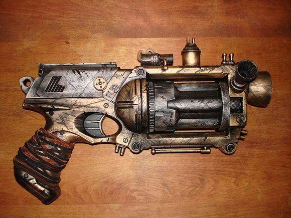 huge barrel steampunk fictional pistol