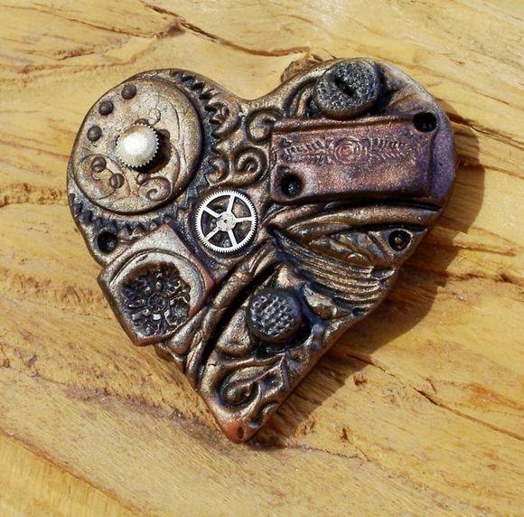 steampunk piece of art in shape of heart