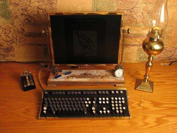 steampunk and victorian era computer near metal lamp