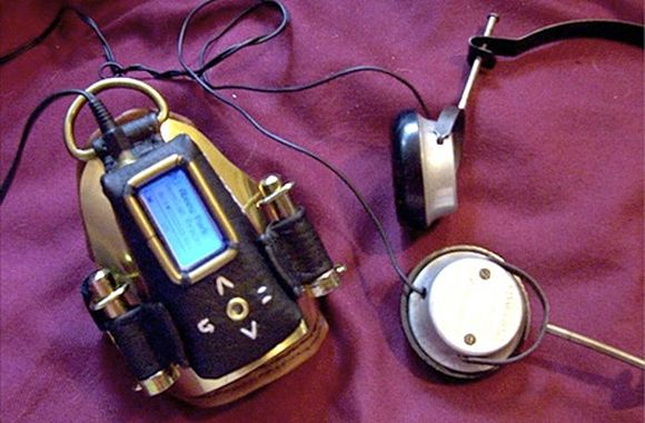 fictional mp3 player with headphones