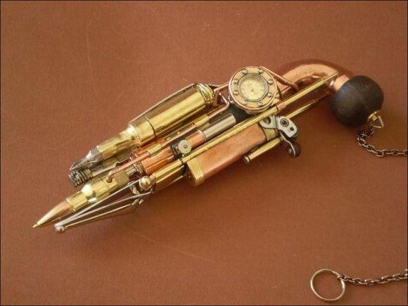 metal and bullets steampunk gun