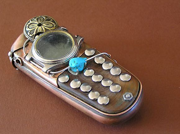 steampunk cell phone with glass buttons
