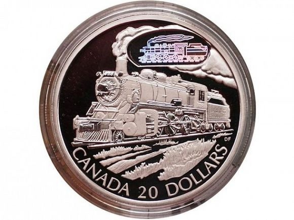 canada 20 dollars coin train front face