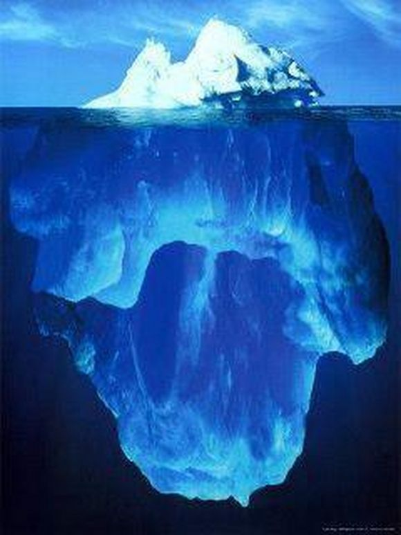 huge iceberg not so huge on the surface