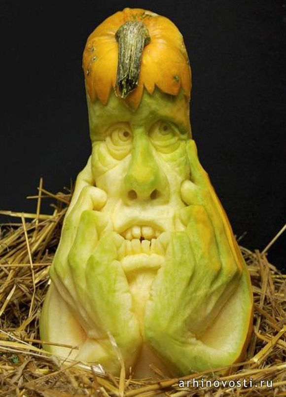 human thinking carved pumpkin