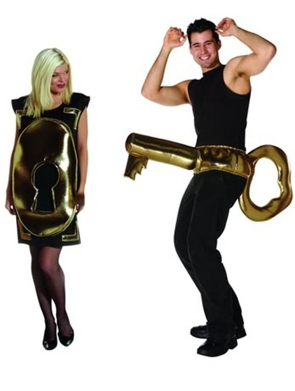 couples halloween costume locker for lady and key for man