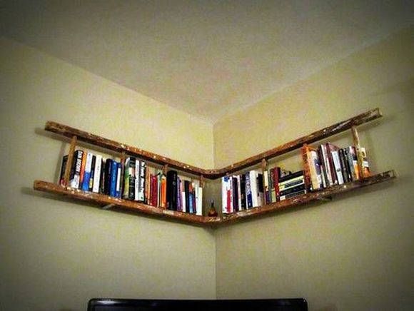 old wooden ladder used as bookshelf creative