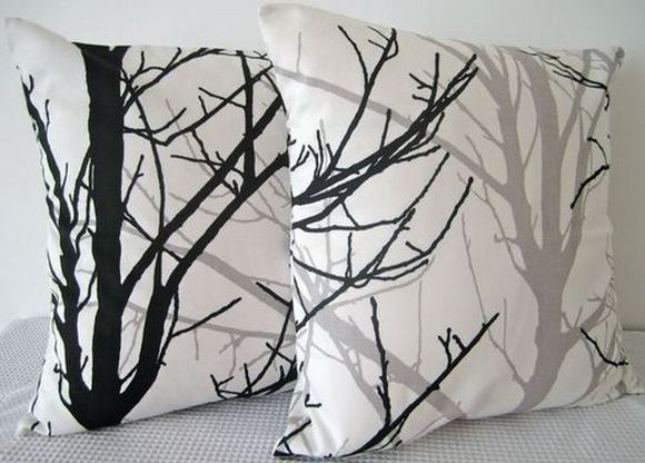pillow with tree branches  drawings