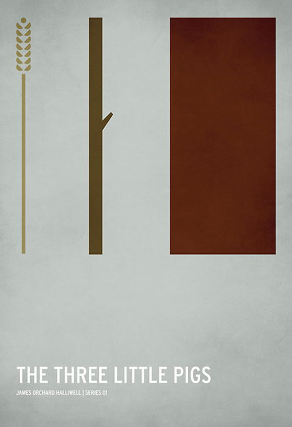 the three little pigs minimalist posters