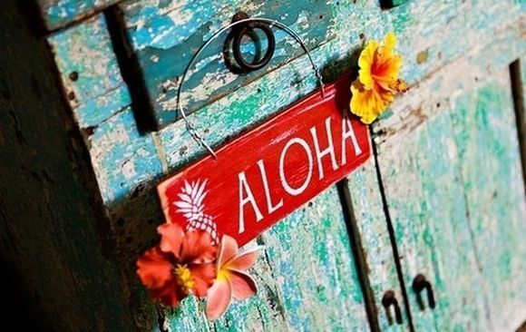 Aloha sign with flowers