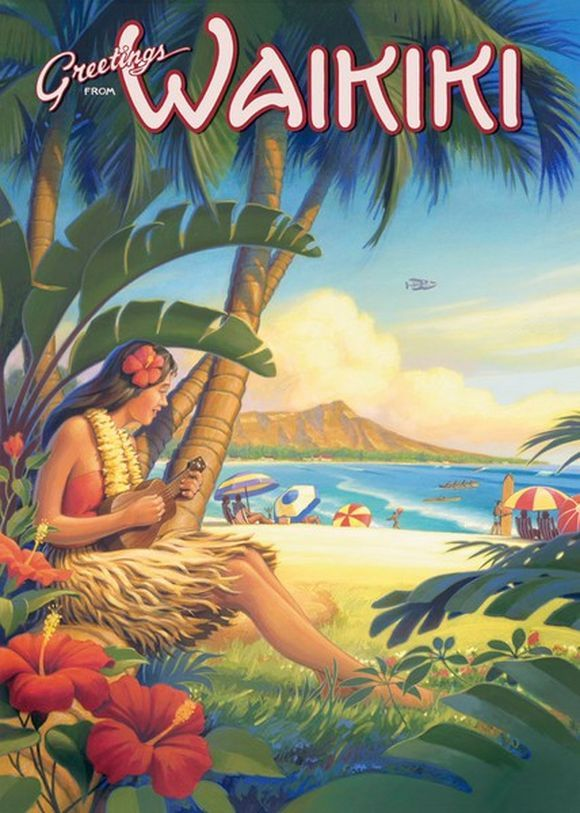 greetings waikiki poster hawaii