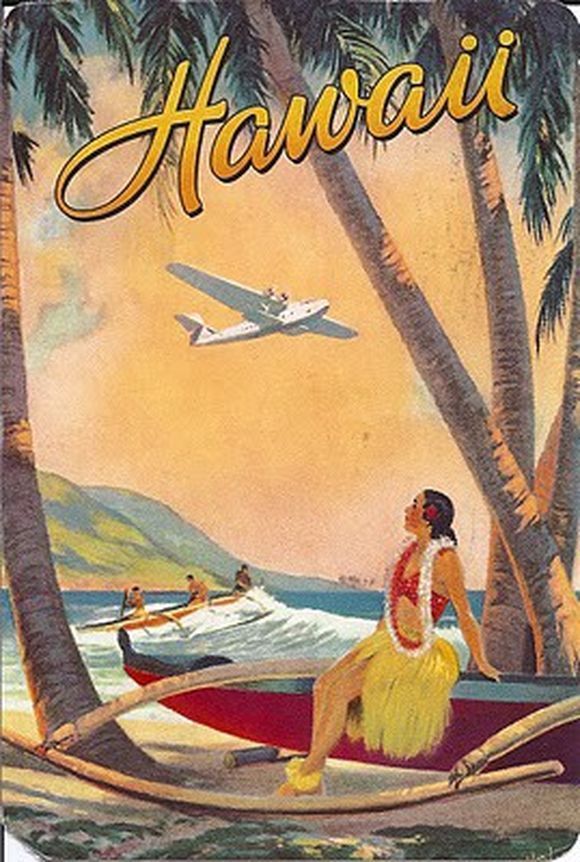 hawai poster lady looking at airplane