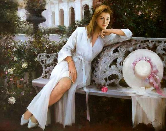 Romantic Paintings of Women by An He