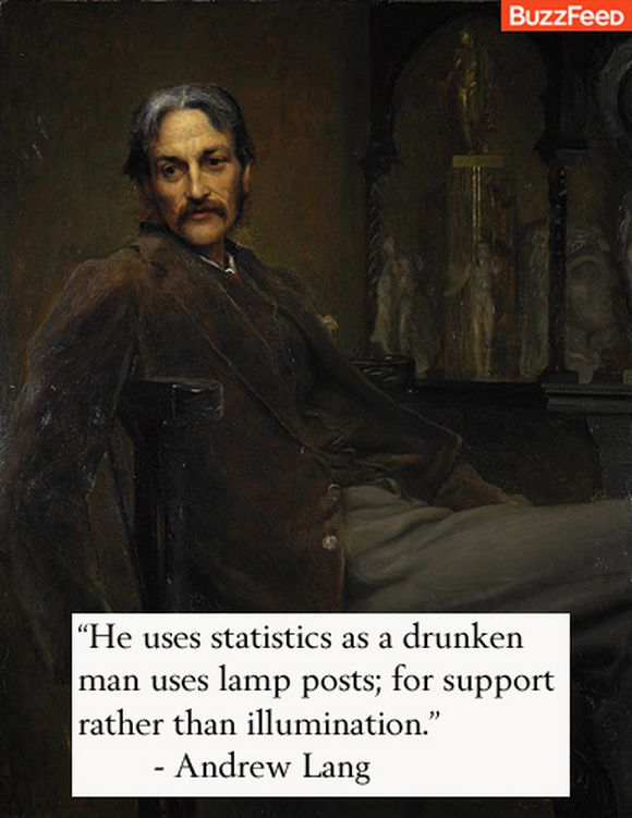he uses statistics as a drunken man uses lamp posts...