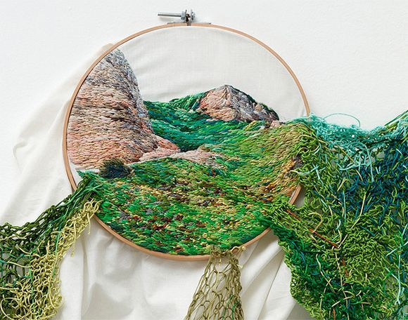 Embroidered Landscapes Capture Forces of Nature