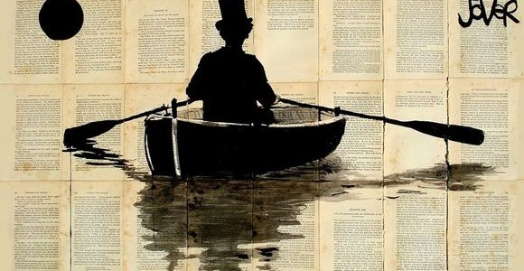 Ink Drawings on Vintage Book Pages by Loui Jover
