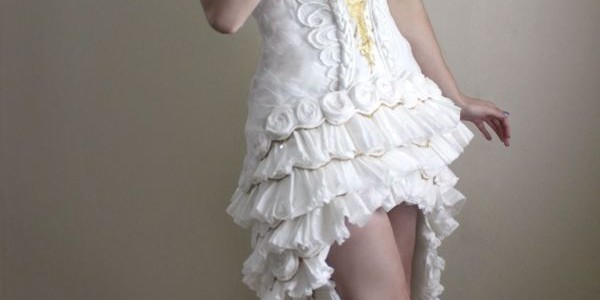 Wedding dress made of toilet paper