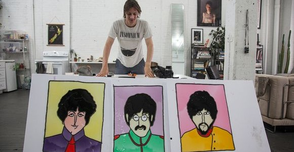 Beatles portraits made of jelly by Henry Hargreaves