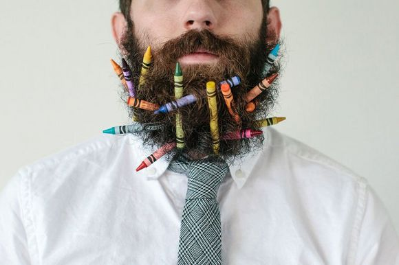 beard and color pencils