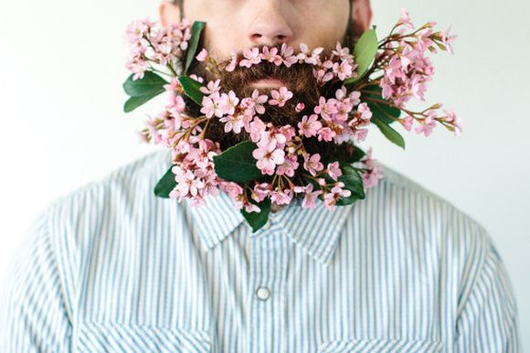 beard and flowers