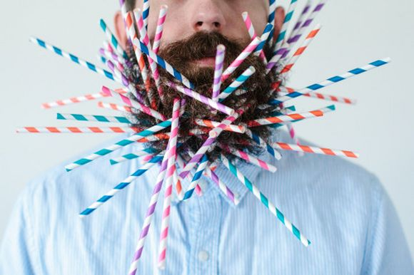 beard and straws