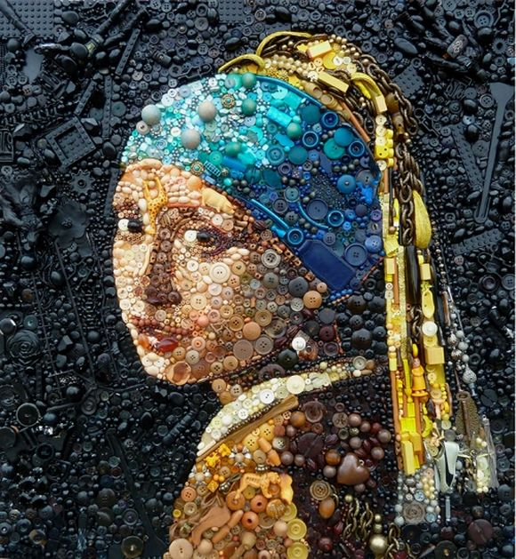 girl with a pearl earring junk art by Jane Perkins