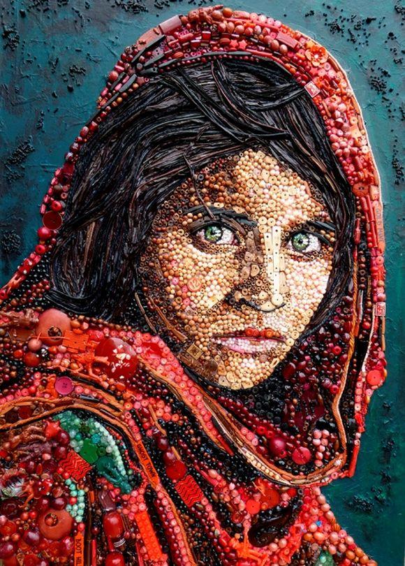 Afghan girl portrait junk art by Jane Perkins