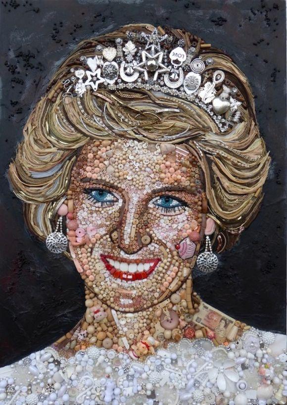 Princess Diana or Princess of Wales portrait junk art