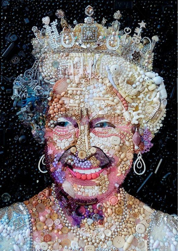 Queen Elizabeth II portrait junk art