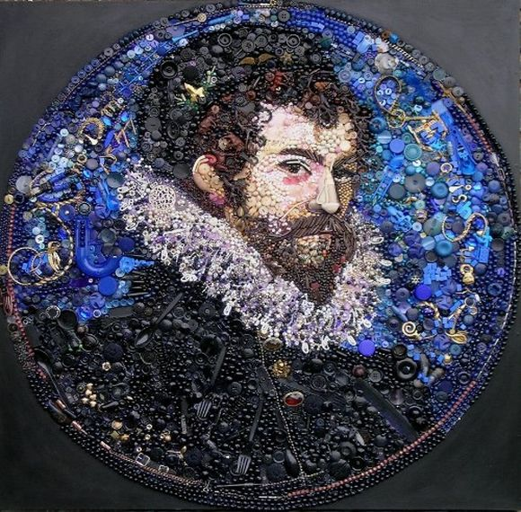 Self portrait of Nicholas Hilliard Collage from Found Materials