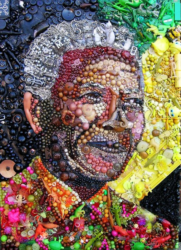 Nelson Mandela portrait trash art