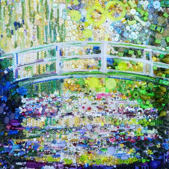Water lilies and Japanese bridge junk art