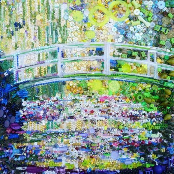 Water lilies and Japanese bridge junk art