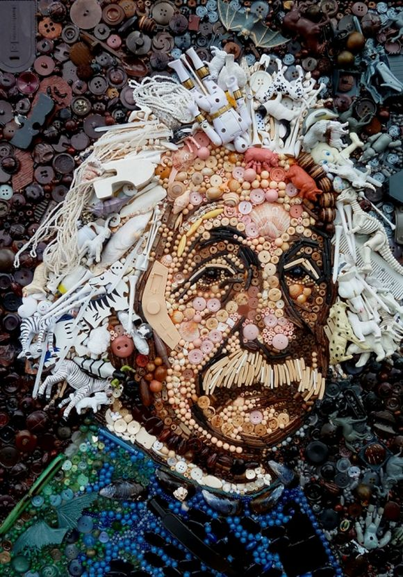 Albert Einstein portrait junk art