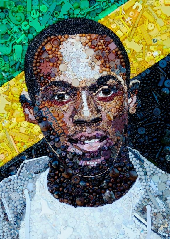 Usain Bolt Jamaican sprinter portrait junk art