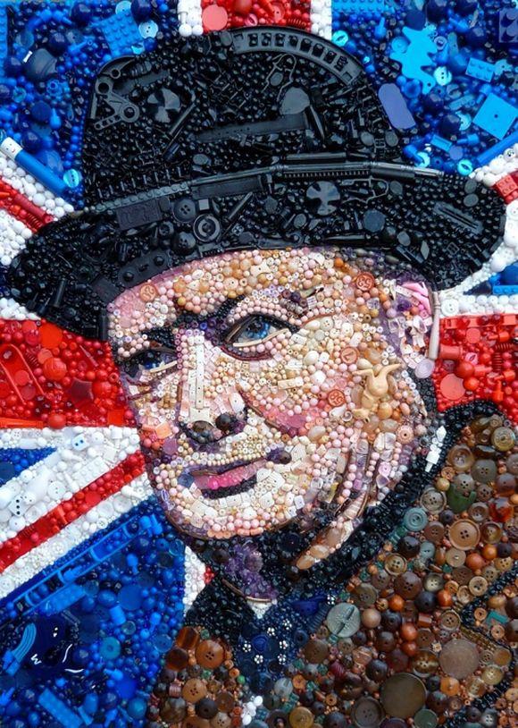 Winston Churchill portrait junk art