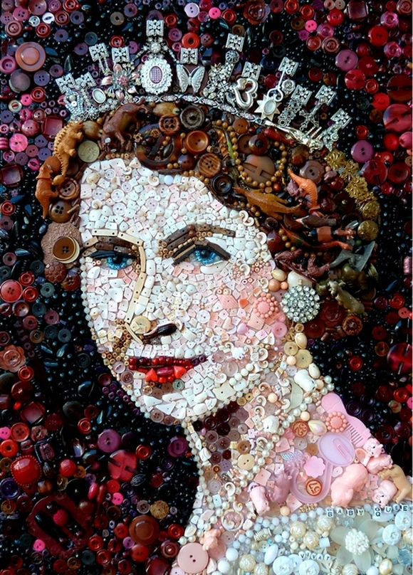 Elizabeth II portrait trash art