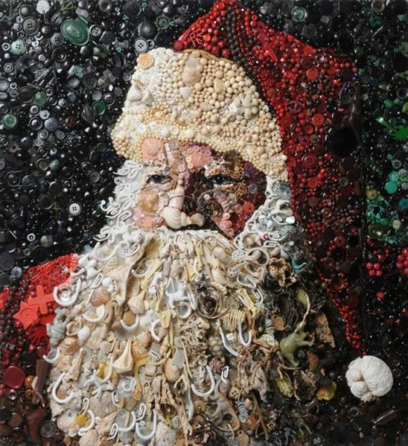 Santa Claus trash art